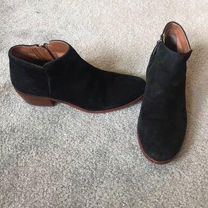 Sam Edelman Black Suede Booties, size 8.
